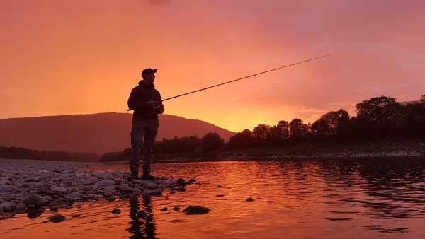 bass fishing at night in summer